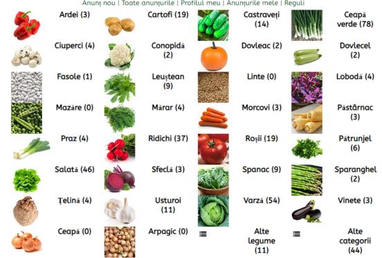 Baza de date platformă legume RNDR